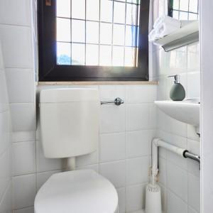 App073 Bad Mosaikfenster WC weiße Fliesen