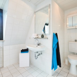 App073 Bad WC Schrank Waschbecken Spiegel Moaikfenster weiße Fliesen