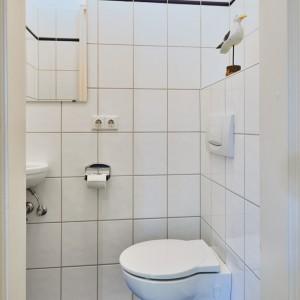 App501 Bad 2 WC Waschbecken Spiegel blaue Bodenfliesen weiße Fliesen