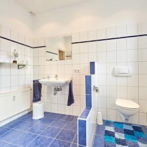 App501 Bad Regal Waschbecken Spiegel Wandtrenner WC Waschmaschine blaue Bodenfliesen weiße Fliesen